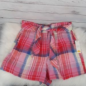 NWT 100% linen high rise plaid shorts